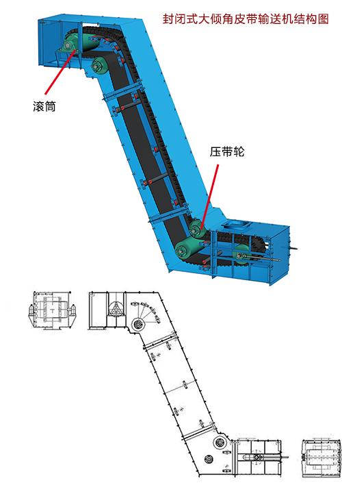 大倾角挡边带式输送机
